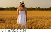 Купить «woman in straw hat on cereal field in summer», видеоролик № 32017344, снято 4 августа 2019 г. (c) Syda Productions / Фотобанк Лори