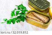 Купить «Salty fillet of mackerel in sunflower oil in open tin can», фото № 32019812, снято 21 августа 2019 г. (c) Яков Филимонов / Фотобанк Лори