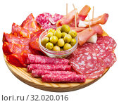 Spanish meat antipasto platter. Стоковое фото, фотограф Яков Филимонов / Фотобанк Лори