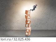 Купить «Career concept with businessman on top of blocks», фото № 32025436, снято 23 августа 2019 г. (c) Elnur / Фотобанк Лори