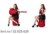 Купить «Woman guitar player isolated on the white», фото № 32025620, снято 4 мая 2013 г. (c) Elnur / Фотобанк Лори