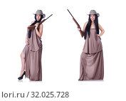 Cowgirl with rifle isolated on the white. Стоковое фото, фотограф Elnur / Фотобанк Лори