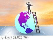 Купить «Businessman on top of the world», фото № 32025764, снято 20 сентября 2019 г. (c) Elnur / Фотобанк Лори