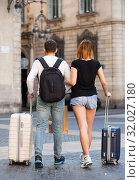 Купить «Couple going the historic city center», фото № 32027180, снято 25 мая 2017 г. (c) Яков Филимонов / Фотобанк Лори