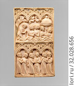 Plaque with the Fountain of Youth, ca. 1320–40, Made in Paris, ÃŽle-de-France, France, French, Ivory, Overall: 4 7/16 x 2 5/8 x 3/16 in. (11.2 x 6.6... (2017 год). Редакционное фото, фотограф © Copyright Artokoloro Quint Lox Limited / age Fotostock / Фотобанк Лори