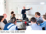 Купить «Relaxed informal IT business startup company meeting. Team leader discussing and brainstorming new approaches and ideas with colleagues. Startup business and entrepreneurship concept.», фото № 32030600, снято 4 апреля 2020 г. (c) easy Fotostock / Фотобанк Лори