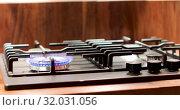 Купить «Steel pan with food over gas stove», видеоролик № 32031056, снято 30 июля 2019 г. (c) Ekaterina Demidova / Фотобанк Лори