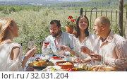 Купить «Joyful meeting of friends near the summer farm», видеоролик № 32031204, снято 26 апреля 2019 г. (c) Яков Филимонов / Фотобанк Лори