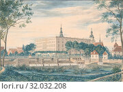 Купить «View of the Dessau Castle from the East, 1820, Watercolor, heightened with white bodycolor. Framing line in gold., sheet: 4 5/16 x 6 7/16 in. (11 x 16...», фото № 32032208, снято 26 апреля 2017 г. (c) age Fotostock / Фотобанк Лори