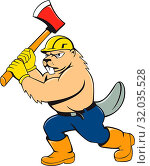 Купить «Illustration of a beaver lumberjack wearing hard hat wielding an ax on isolated white background done in cartoon style.», фото № 32035528, снято 19 января 2020 г. (c) easy Fotostock / Фотобанк Лори