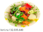 Купить «Fresh vegetable soup made of green bean, carrot, potato, red bell pepper, tomato in bowl», фото № 32035640, снято 20 ноября 2019 г. (c) easy Fotostock / Фотобанк Лори