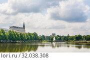 Overlooking the Kleiner Kiel lake, on the city hall house, Kiel, Schleswig-Holstein, Germany, Europe (2019 год). Стоковое фото, фотограф Николай Коржов / Фотобанк Лори