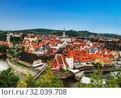 Top view of Cesky Krumlov, Czech Republic (2014 год). Редакционное фото, фотограф Наталья Волкова / Фотобанк Лори
