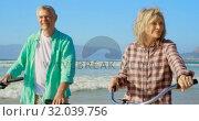 Купить «Front view of active senior Caucasian couple standing with bicycle on the beach 4k», видеоролик № 32039756, снято 14 ноября 2018 г. (c) Wavebreak Media / Фотобанк Лори