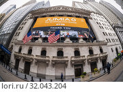 Купить «The New York Stock Exchange in Lower Manhattan in New York on Friday, April 12, 2019 is decorated with a banner for the Jumia initial public offering....», фото № 32043204, снято 12 апреля 2019 г. (c) age Fotostock / Фотобанк Лори