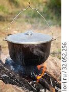 Купить «Bonfire and black cauldron», фото № 32052256, снято 14 июля 2019 г. (c) EugeneSergeev / Фотобанк Лори