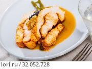Купить «Turkey breast with prunes, walnut and sauce», фото № 32052728, снято 16 октября 2019 г. (c) Яков Филимонов / Фотобанк Лори
