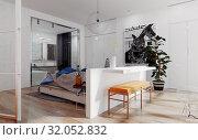 Купить «modern bedroom interior», фото № 32052832, снято 23 февраля 2020 г. (c) Виктор Застольский / Фотобанк Лори