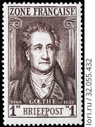 Johann Wolfgang von Goethe, postage stamp, French Occupation Zone, Allied Occupation, Germany, 1945. (2014 год). Редакционное фото, фотограф Ivan Vdovin / age Fotostock / Фотобанк Лори