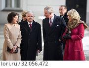 Prince Charles and Duchess Camilla visiting Poland on March 16, 2010. Warsaw, Poland. Pictured: President Lech Kaczynski, Prince Charles, Duchess Camilla, Maria Kaczynska. Редакционное фото, фотограф Brykczynski Donat / age Fotostock / Фотобанк Лори