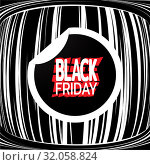 Купить «Black Friday label on striped old tv screen. Stylish Sale theme. Template for use on flyer, poster, booklet, banner. Vector», иллюстрация № 32058824 (c) Dmitry Domashenko / Фотобанк Лори