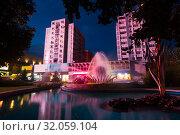 Купить «Image of night center city in Pitesti», фото № 32059104, снято 22 сентября 2017 г. (c) Яков Филимонов / Фотобанк Лори