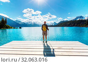 Купить «Hike to turquoise waters of picturesque Garibaldi Lake near Whistler, BC, Canada. Very popular hike destination in British Columbia.», фото № 32063016, снято 12 ноября 2019 г. (c) easy Fotostock / Фотобанк Лори