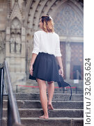 Купить «girl going back barefoot the stone stairs», фото № 32063624, снято 15 декабря 2019 г. (c) Яков Филимонов / Фотобанк Лори