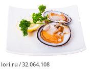 Купить «Fresh bivalve mussels with lemon», фото № 32064108, снято 25 августа 2019 г. (c) Яков Филимонов / Фотобанк Лори