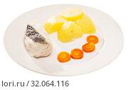 Купить «Codfish steamed and served with slices of potatoes and carrots», фото № 32064116, снято 19 сентября 2019 г. (c) Яков Филимонов / Фотобанк Лори