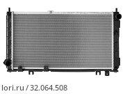 Купить «car engine cooling radiator on a white background», фото № 32064508, снято 22 августа 2019 г. (c) Дмитрий Бачтуб / Фотобанк Лори