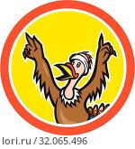 Купить «Illustration of a wild turkey run trot running runner victory winner set inside circle done in cartoon style on isolated background.», фото № 32065496, снято 4 июня 2020 г. (c) easy Fotostock / Фотобанк Лори
