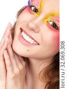 Купить «Female with fashion feather eyelashes make-up», фото № 32069308, снято 2 июля 2019 г. (c) Serg Zastavkin / Фотобанк Лори