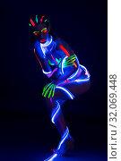 Woman with ultraviolet color pattern bodyart view. Стоковое фото, фотограф Гурьянов Андрей / Фотобанк Лори