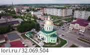 Купить «Aerial view of Holy Trinity Church at Ozyory in summer. Russia», видеоролик № 32069504, снято 13 мая 2019 г. (c) Яков Филимонов / Фотобанк Лори