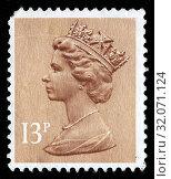 Queen Elizabeth II, Machin series, postage stamp, UK, 1984. (2010 год). Редакционное фото, фотограф Ivan Vdovin / age Fotostock / Фотобанк Лори
