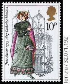 Catherine Morland, Northanger Abby, Jane Austen novel, postage stamp, UK, 1975. (2010 год). Редакционное фото, фотограф Ivan Vdovin / age Fotostock / Фотобанк Лори