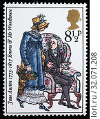 Купить «Emma and Mr. Woodhouse, Emma, Jane Austen novel, postage stamp, UK, 1975.», фото № 32071208, снято 27 ноября 2010 г. (c) age Fotostock / Фотобанк Лори