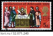 Declaration of Arbroath, 1320, postage stamp, UK, 1970. (2010 год). Редакционное фото, фотограф Ivan Vdovin / age Fotostock / Фотобанк Лори