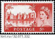 Caernarfon Castle, Gwynedd, Wales, Queen Elizabeth II, Wilding series, postage stamp, UK, 1959. (2013 год). Редакционное фото, фотограф Ivan Vdovin / age Fotostock / Фотобанк Лори