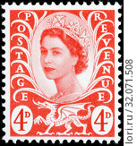 Queen Elizabeth II, Wilding series, Wales, postage stamp, UK, 1969. (2014 год). Редакционное фото, фотограф Ivan Vdovin / age Fotostock / Фотобанк Лори
