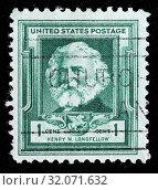 Henry Wadsworth Longfellow (1807-1882), American poet, postage stamp, USA, 1940. (2010 год). Редакционное фото, фотограф Ivan Vdovin / age Fotostock / Фотобанк Лори