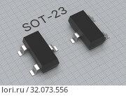 SMD SOT-23 electronic transistor placed on blueprint 3d illustration. Стоковая иллюстрация, иллюстратор Евгений Забугин / Фотобанк Лори