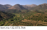 Aerial video of cretan landscapes. Olive groves on the hils and mountain slopes and sea. Crete, Greece. (2019 год). Стоковое видео, видеограф Serg Zastavkin / Фотобанк Лори