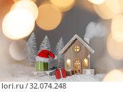 Купить «Christmas card with house in snow», фото № 32074248, снято 6 декабря 2018 г. (c) Иван Михайлов / Фотобанк Лори
