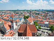 Купить «The Old Town Hall (Altes Rathaus) and the Heilig-Geist-Kirche (Church of the Holy Spirit;  Holy Ghost Church). Sunny summer day. View from above. Munich. Bavaria. Germany», фото № 32074348, снято 18 июня 2019 г. (c) Екатерина Овсянникова / Фотобанк Лори