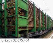 Железнодорожный состав с лесом стоит на станции (2018 год). Редакционное фото, фотограф Вячеслав Палес / Фотобанк Лори
