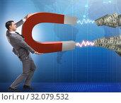 Купить «Businessman catching dollars on horseshoe magnet», фото № 32079532, снято 17 февраля 2020 г. (c) Elnur / Фотобанк Лори