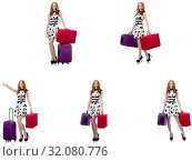 Купить «Beautiful woman in polka dot dress with suitcases isolated on wh», фото № 32080776, снято 25 февраля 2020 г. (c) Elnur / Фотобанк Лори