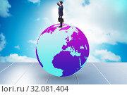 Купить «Businessman on top of the world», фото № 32081404, снято 20 сентября 2019 г. (c) Elnur / Фотобанк Лори